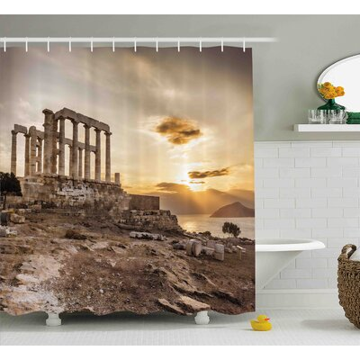 Candelaria Pillar Greek Temple Poseidon At Sunset Sea and The Cloudy Sky Digital Image Shower Curtain Size: 69 W x 70 H
