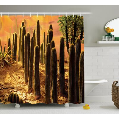 Miara Cactus Sunset Shower Curtain Size: 69 W x 84 H