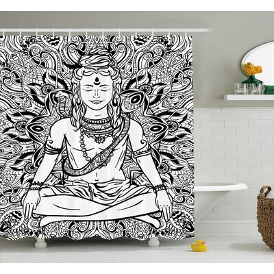 Heusden Yoga Indian Lord With Third Eye and Snake on His Neck Boho Mandala Sketchy Print Shower Curtain Size: 69