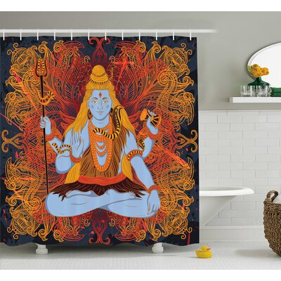 Ouasse Yoga Retro Graphic of Indian Deity God Grunge Fire Mandala Pattern Culture Holy Idol Shower Curtain Size: 69 W x 70 H