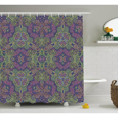 Susana Fractal Pattern Vintage Tribal Themed Modern Mandala Bohemian Hippie Art Shower Curtain Size: 69 W x 70 H