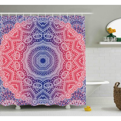 Apollo Mandala Hippie Ombre Style Print Infinity and Harmony Asian Culture Inspired Pattern Shower Curtain Size: 69