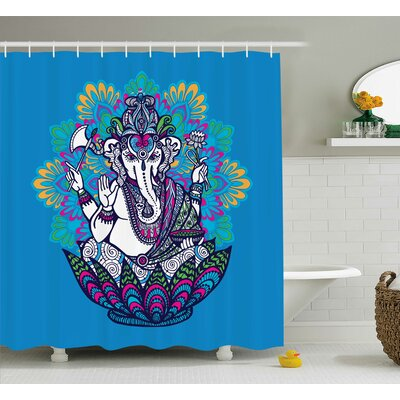 Nieuwstadt Indian Hippie Boho Elephant Goddess Shower Curtain Size: 69 W x 84 H