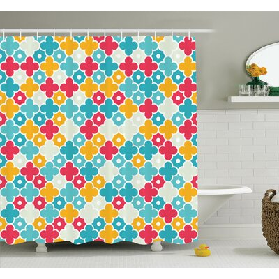 Stevenson Quatrefoil Kids Colorful Petal Clover Leaf Pattern Bohem Casual Kids Decor Shower Curtain Size: 69 W x 70 H