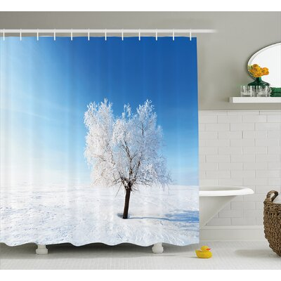 Mcclure Single Tree on Snow Cover Field With Vibrant Sky Blizzard Frozen Concept Shower Curtain Size: 69 W x 70 H