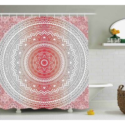 Antonia Grey and Red Hippie Ombre Mandala Cosmos Pattern With Flower Geometric Figures Indie Image Shower Curtain Size: 69 W x 70 H