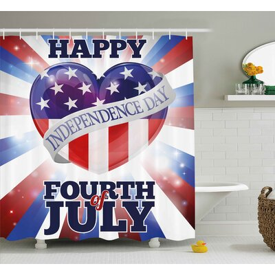 4th of July Cute Little Bulldog Puppy Waving Us Flag and Hat Celebrating Artsy Picture Shower Curtain Size: 69 W x 70 H