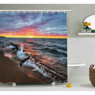 Frieda Driftwood on The Shores of The Lake Set Against Sunset Horizon Image Shower Curtain Size: 69 W x 70 H