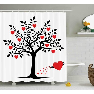 Valentines Day Love Themed Tree With Heart Romance Fruits Leaves Forest Couple Art Shower Curtain Size: 69 W x 70 H