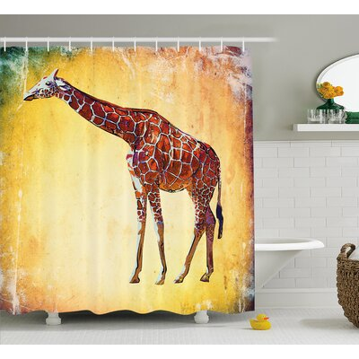Koge Giraffe Vintage Style Illustration Watercolor African Animal Wildlife Safari Zoo Retro Artwork Shower Curtain Size: 69 W x 70 H