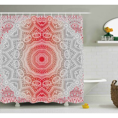 Melinda Grey and Red Ethnic Eastern Cultural Folk Deity and Mystic Boho Zen Ombre Mandala Art Design Shower Curtain Size: 69 W x 70 H