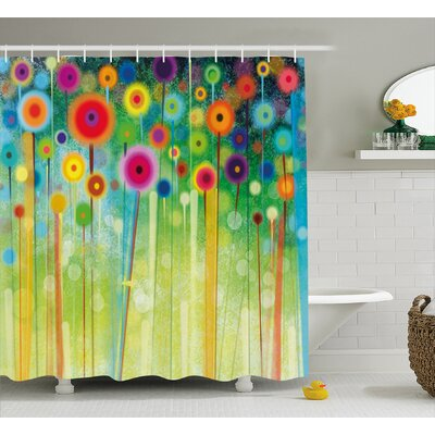 Rena Abstract Dandelion Inspired Spiral Blooms Petals Nature Art Theme Shower Curtain Size: 69 W x 75 H