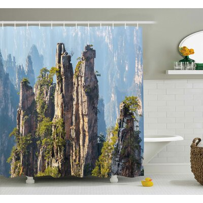 Vienna National Park Rock Formations Natural Wonders of The World Asian Image Shower Curtain Size: 69 W x 70 H