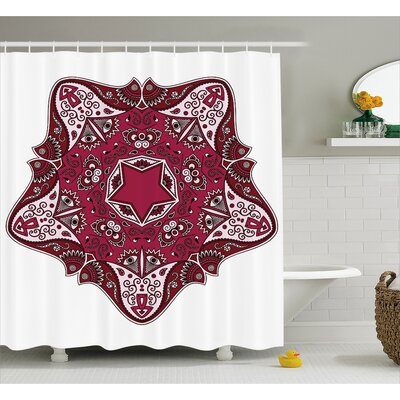 Bernice Mandala Maroon Authentic Asian Universe and Microcosm Icon Tribal Effects Mystic Locus Print Shower Curtain Size: 69 W x 70 H