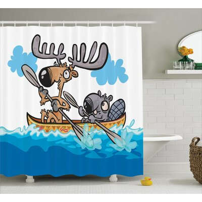 Janna Moose American Animals Boat Beaver Friend Canoe River Fun Native Characters Cartoon Shower Curtain Size: 69 W x 70 H