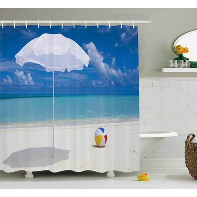 Bullion Beach Summer Season Vibes Seashore Ocean View Sunny Ball Waves Sands Artwork Shower Curtain Size: 69 W x 70 H