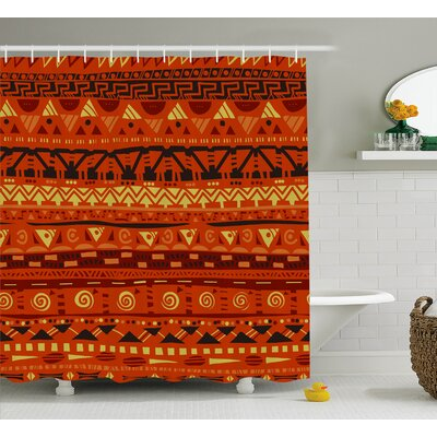 Ashtree Antique African Folkloric Motifs With Primitive Tribal Ornaments Image Shower Curtain Size: 69 W x 75 H