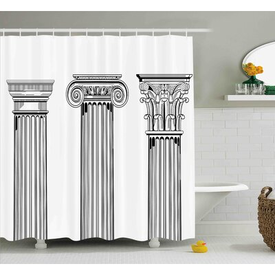 Evelyn Antique Theme Column Capitals Illustration Ancient Architecture Pattern Shower Curtain Size: 69 W x 75 H