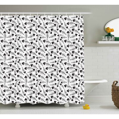 Tula Trippy Funny Fish Bone Pattern Abstract Tattoo Style Artistic Modern Illustration Shower Curtain Size: 69 W x 70 H