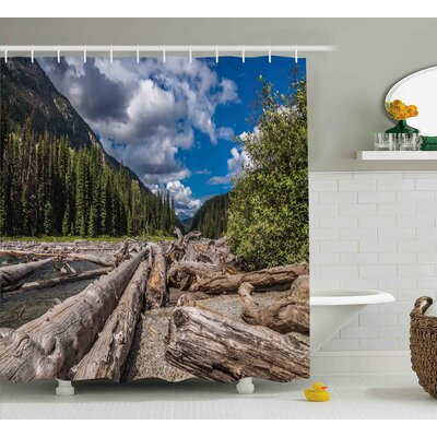 Burtine Nature Theme Driftwood on a River The Cloudy Sky and Trees Landscape Shower Curtain Size: 69 W x 75 H