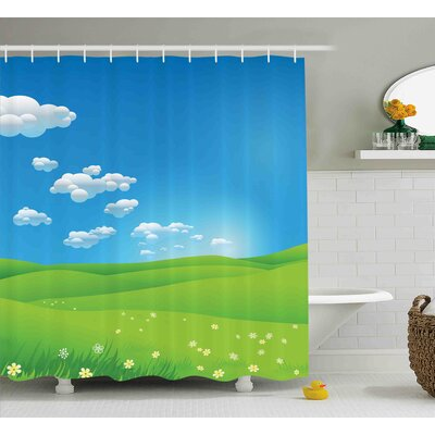 Janine Landscape Cartoon Scenery Clouds Valley Hills Grass Sunbeams Flowers Artprint Image Shower Curtain Size: 69 W x 70 H