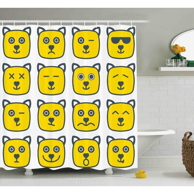 Bettye Emoji Cat Dog Like Animal Smiley Face With Expressions Angry Happy Sad Fancy Moods Art Shower Curtain Size: 69 W x 70 H