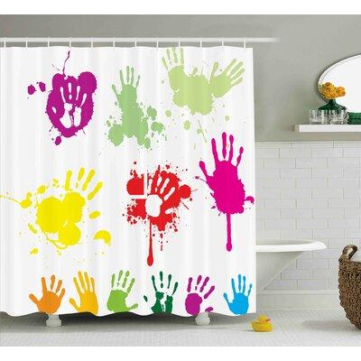 Alicia Graffiti Street Wall Hand Prints Splashing Circles Teenagers Spray Color Artwork Image Shower Curtain Size: 69 W x 70 H