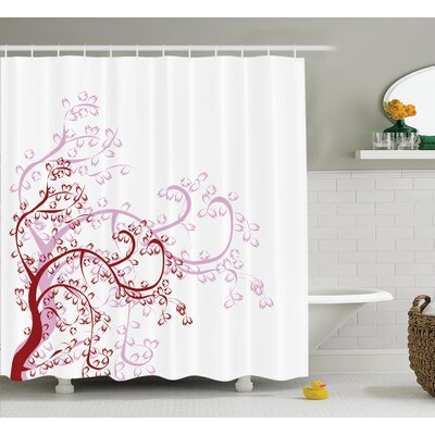 Ouled Japanese Spiral Fashioned Ancient Genus Magnolia Foliage Enclosed Leaf Whorls Motif Shower Curtain Size: 69 W x 70 H