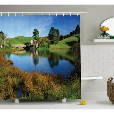 Hobbits Hobbit Land Village House By Lake With Stone Bridge Farmhouse Cottage New Zealand Shower Curtain Size: 69 W x 70 H