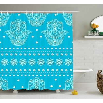 Kirsten Hamsa Eastern Theme Sacred Geometric and Floral Prints Amulet Pattern Evil Eye Protection Shower Curtain Size: 69 W x 70 H