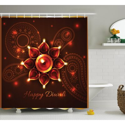 Brooks Diwali Paisley Design Backdrop With Beams and Diwali Wishes Candles Indian Print Shower Curtain Size: 69 W x 70 H