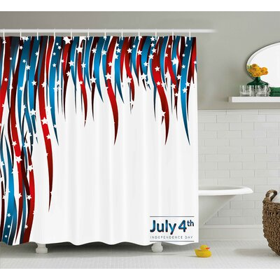 4th of July American Love Inspired Heart Shaped Flags Traditional United States Design Shower Curtain Size: 69 W x 70 H