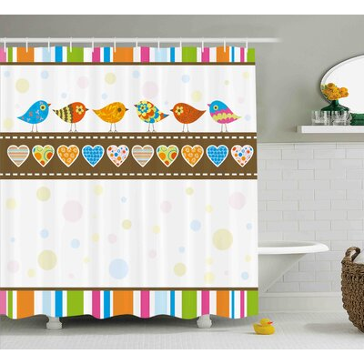Valentines Day Cute Chubby Birds With Colored Hearts and Stripes Abstract Dots Image Shower Curtain Size: 69 W x 70 H