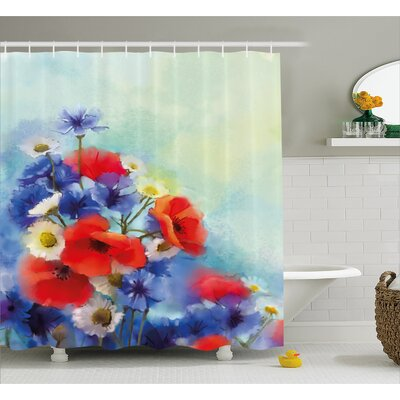 Duran Close Up Structured Bouquet With Flower Types Poppy Peace Design Shower Curtain Size: 69 W x 75 H