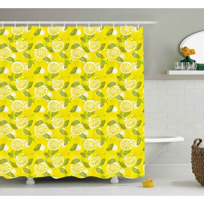 Tonie Spring Fresh Lemon Slices With Leaves Background Soft Fruit Summer Tasteful Design Shower Curtain Size: 69 W x 70 H