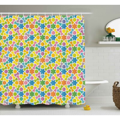 Jazzmyn Abstract Trippy Geometric Pattern With Star and Fractal Diagonal Shapes Modern Art Design Shower Curtain Size: 69 W x 70 H