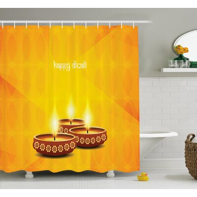 Gibson Diwali Geometric Cut Backdrop Image With Religious Sacred Day Diwali Burning Candles Art Shower Curtain Size: 69 W x 70 H