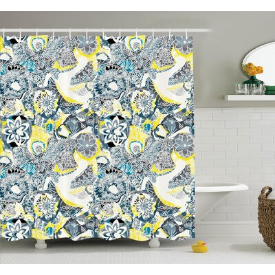 Glenna Mandala Ornamental Vintage Blooming Flowers Foliage Leaves Garden Themed Shower Curtain Size: 69 W x 75 H
