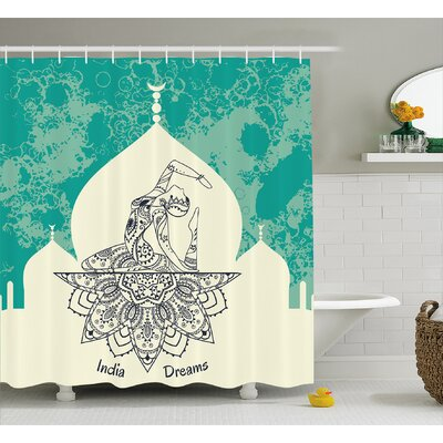 Vauxhall Chakra Grungy Vintage Image With Dancing Lady Generated With Angled Ethnic Print Shower Curtain Size: 69 W x 70 H