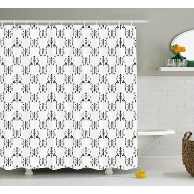 Briony Tribal Arrow With Feathers Print Indian Abstract Aztec Boho Monochrome Pattern Shower Curtain Size: 69 W x 70 H