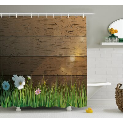 Kaitlyn Daisy Field Shower Curtain Size: 69 W x 75 H