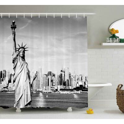 Keleigh American Statue of Liberty New York City Midtown Over Hudson River Black and White Photo Shower Curtain Size: 69 W x 70 H