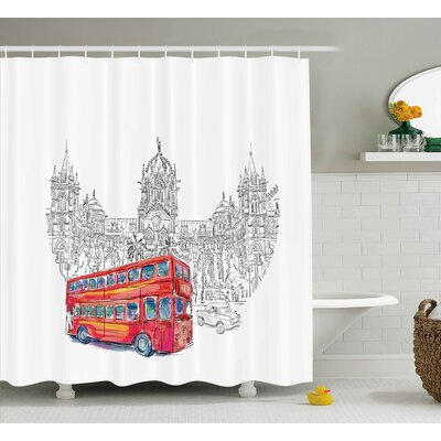 Thora Cityscape Historical Indian Architecture Railway With Red Bus Monument Culture Illustration Shower Curtain Size: 69 W x 70 H