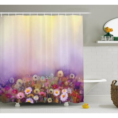 Lorri Bed With Different Blossoms Types Fresh Romantic Garden Paint Shower Curtain Size: 69 W x 75 H