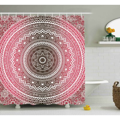 Tanya Pink and White Bohemian Ombre Mandala Vintage Pattern Modern Zen Traditional Design Shower Curtain Size: 69
