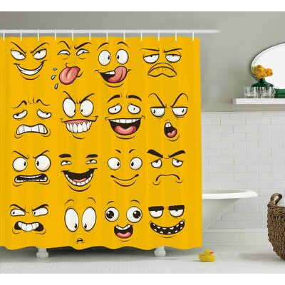 Diane Emoji Smiley Surprised Sad Hot Happy Sarcastic Angry Mood Faces Expression Plain Backdrop Print Shower Curtain Size: 69 W x 75 H