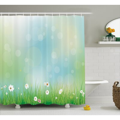Tamela Fairy Spring Blooms Pattern With Digital Made Bursts Ovary Shower Curtain Size: 69 W x 75 H