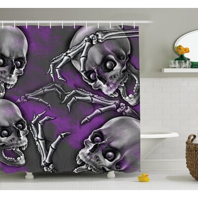 Skull Scary Creepy Spooky Happy Smiling Skeleton With Boned Hand Art Print Shower Curtain Size: 69 W x 70 H