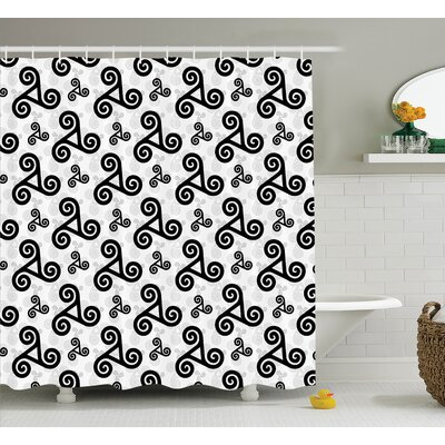 Kelly Triskels With Three Interlocked Spirals Heraldic Warriors Emblem Art Shower Curtain Size: 69