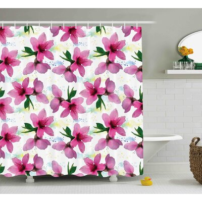 Shandi Vivid Cherry Blossom Sakura Petals Botany Essence Watercolor Artwork Shower Curtain Size: 69 W x 70 H